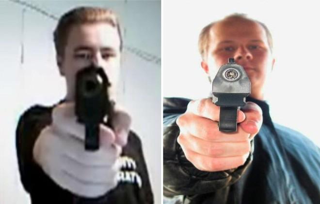 Uma combinação de fotos mostra o estudante Matti Juhani Saari (dir.) que abriu fogo em escola técnica nesta terça, e o estudante Pekka-Eric Auvinen (esq.) que fez disparos na Escola Jokela em 7 de novembro de 2007 | Handout / Reuters