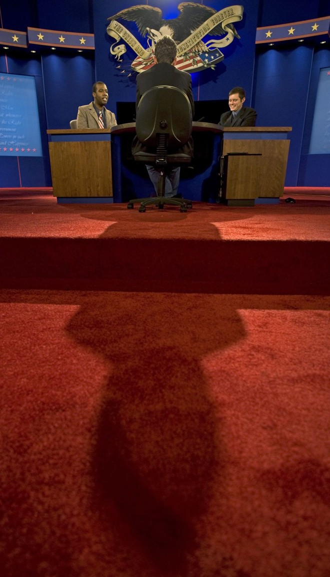 Alunos da Universidade de Hofstra participam de ensaio para o debate | Paul J. Richards/AFP