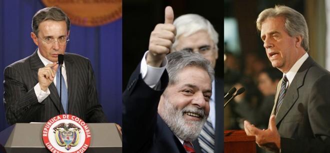 Uribe (esq.), Lula (centro) e Vázquez (dir.) foram eleitos os mais populares por 22 países da América Latina, Portugal e Espanha   John Vizcaino / Sergio Perez / Andres Stapff / Reuters