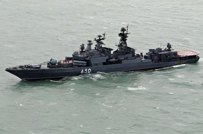 Destróier anti-submarino russo Almirante Chabanenko nas águas da Nicarágua | Miguel Alvarez / Reuters