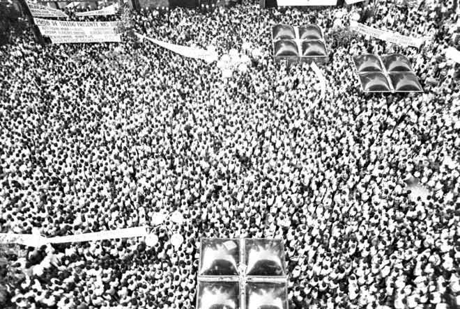 Vista da Boca Maldita, no dia do comício: descrição do número de participantes varia de 10 mil a 60 mil, dependendo do relato | Arquivo/Gazeta do Povoa