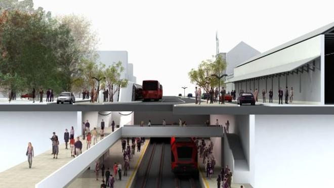 Ilustração de uma estação do projeto do metrô em Curitiba, feito pela prefeitura   Divulgação/ Prefeitura Municipal de Curitiba