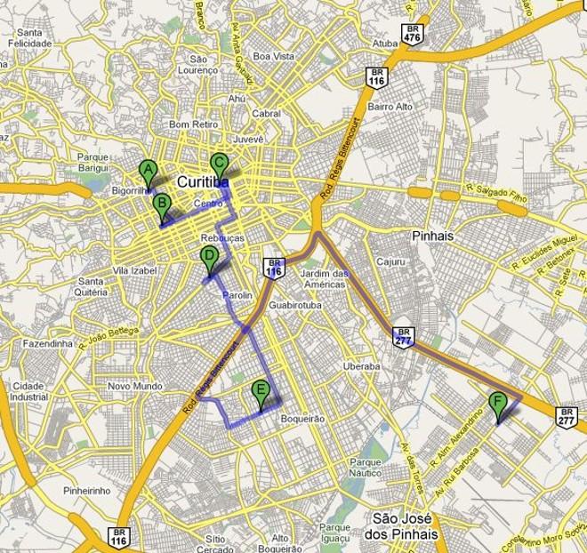 Veja no mapa a localização das farmácias e a possível rota feita pelos bandidos |