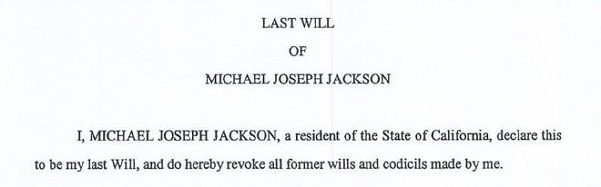 Detalhe do testamento de Michael Jackson, divulgado nesta quarta |
