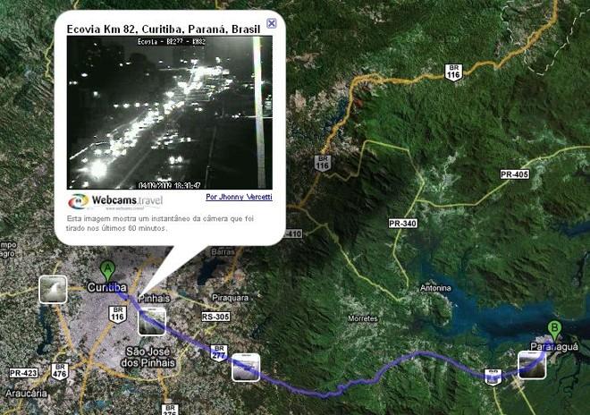 Imagem da câmera da concessionária Ecovia mostra o movimento na BR-277 | Divulgação