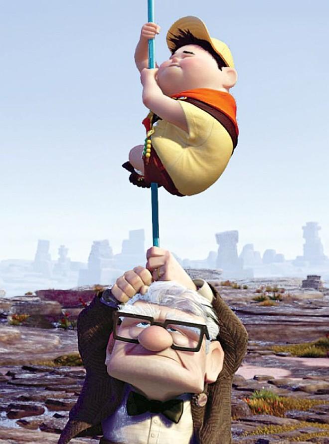 Carl Fredricksen (dublado em português por Chico Anísio) e o menino Russell: parceiros de aventura   Divulgação
