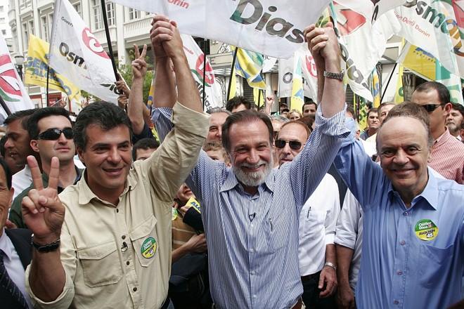 Richa, Osmar e Serra, nas eleições de 2006: histórico do senador atrapalha coligação com o PT. | Jonathan Campos/ Gazeta do Povo