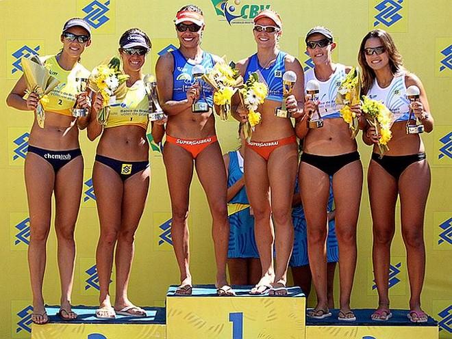 Juliana e Larissa comemoram título da etapa de Balneário Camboriú, em Santa Catarina | Geremias A. Junior / CBV