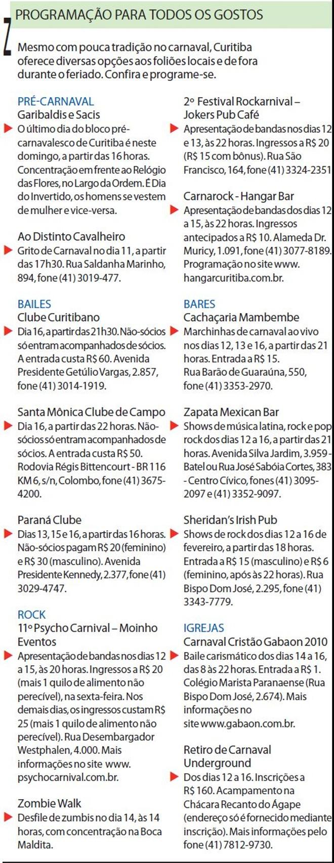 Confira a programação de Curitiba |