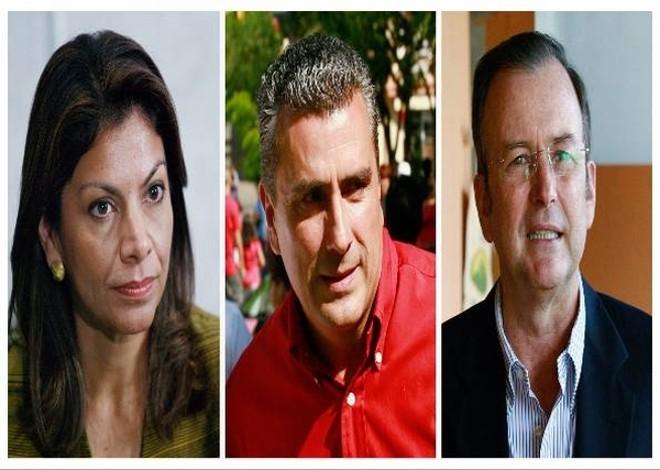 Os três princiais candidatos à eleição presidencial costarriquenha: Laura Chinchilla, Otto Guevara e Otton Solis   Reuters