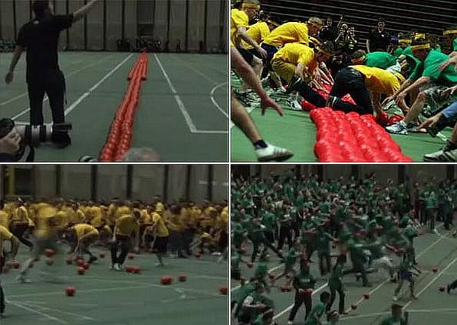 Estudantes disputaram maior jogo de queimada do mundo | Reprodução