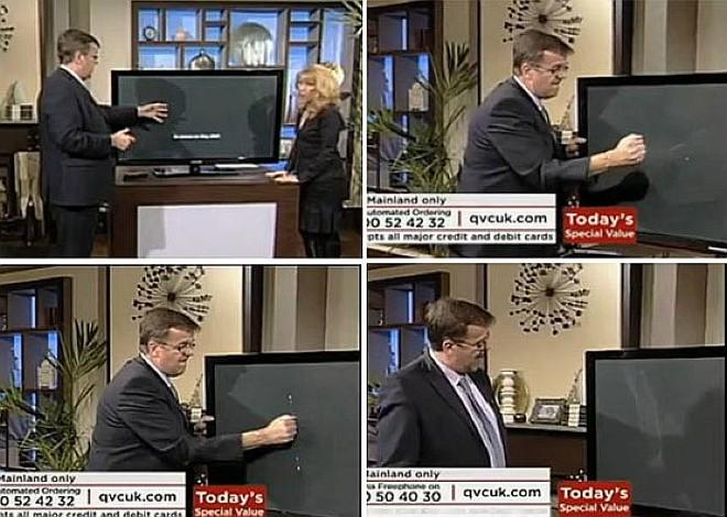 TV de LCD não resistiu aos murros do apresentador durante teste ao vivo em emissora inglesa | Reprodução/QVD TV