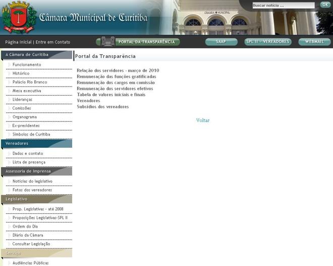 O site revela também os vencimentos dos próprios vereadores e do presidente da casa | Reprodução