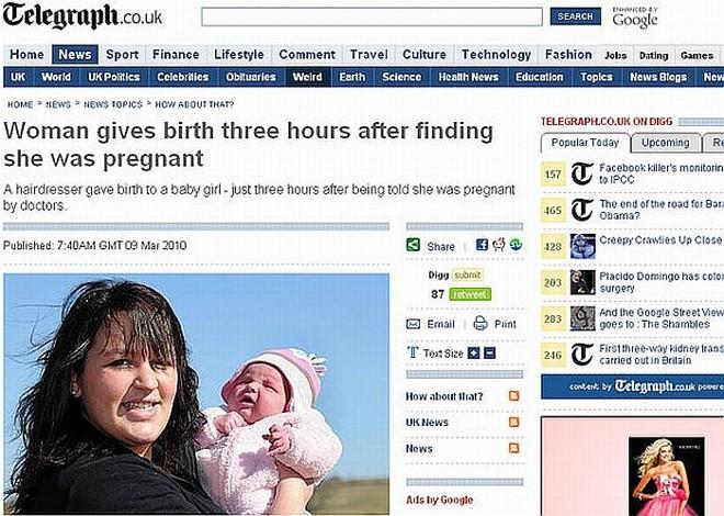 Ruins de doer - Médicos passaram 9 meses sem perceber que Billy estava grávida. Quando perceberam, disseram que a gestação havia completado 3 meses | Reprodução/ Telegraph.co.uk