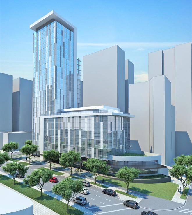Perspectiva do empreendimento comercial, focado na sustentabilidade, que a Laguna construirá no bairro Água Verde | Imagens: Divulgação