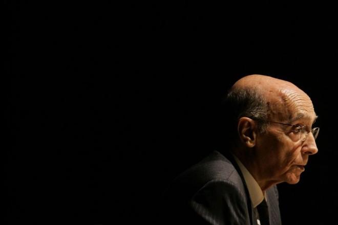 O escritor Saramago durante viagem ao Brasil em 2008 | Mauricio Lima/AFP