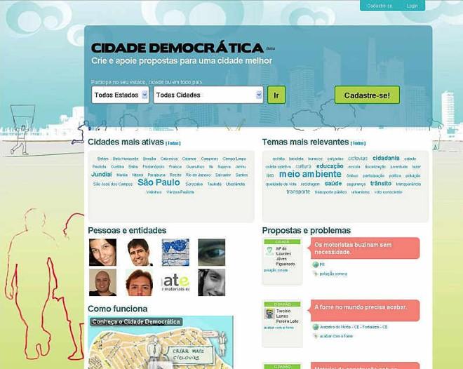 O Cidade Democrática funciona como rede social de pessoas e causas | Reprodução