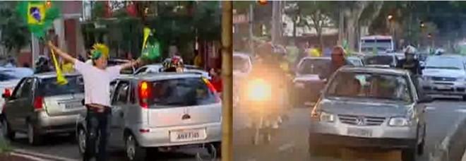 Os torcedores se concentraram na Avenida Tiradentes, umas das principais vias da região central, onde realizaram um grande buzinaço | Reprodução RPC TV Cultura