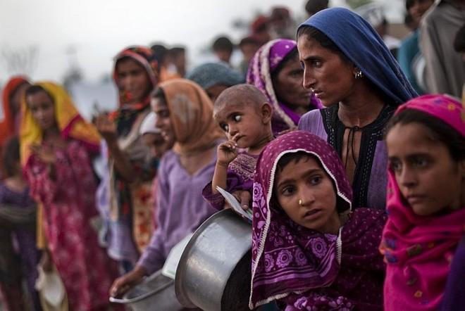 Paquistanesas esperam comida em Sukkar: faltam também água e abrigo | Pedro Ugarte/AFP
