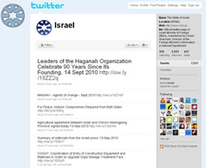 Twitter do governo de Israel   Reprodução