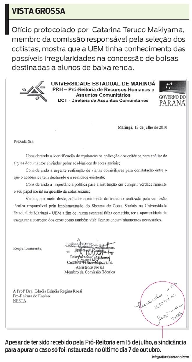 Veja o ofício protocolado por Catarina Teruco Makiyama |