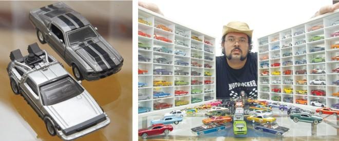 O DeLorean (esq.) e o Shelby GT500 são os preferidos  Roniel Iunckovski, colecionador curitibano que está há cinco anos no mundo das miniaturas. Ele tem cerca de 1,5 mil unidades | Fotos: Hugo Harada/ Gazeta do Povo