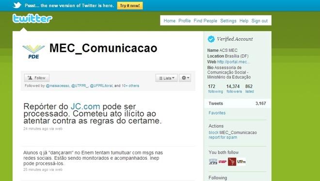 Perfil do MEC no twitter ameaça estudantes e repórter |