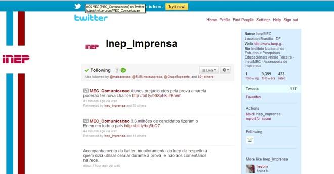 Post do site do Inep |