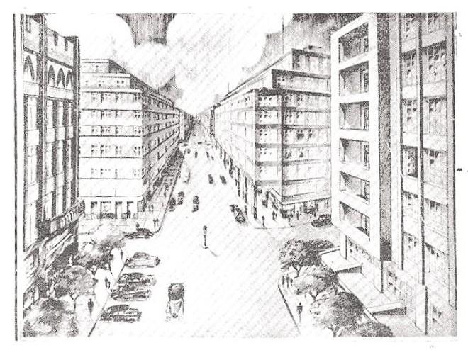 Prédios da XV com galerias. Essas duas pranchas saíram do papel. Repare na perspectiva e na altura mediana prevista para os prédios |
