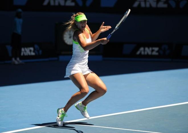 Maria Sharapova venceu a compatriota russa Ekaterina Makarova por 2 sets a 0 e se garantiu na final do Aberto da Austrália | Greg Wood / AFP
