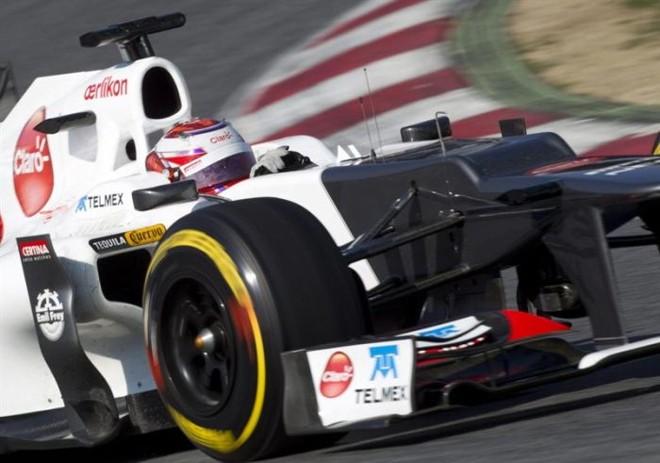 Kamui Kobayashi, da Sauber, fechou a semana de testes em Barcelona com o melhor tempo | Alejandro García / EFE