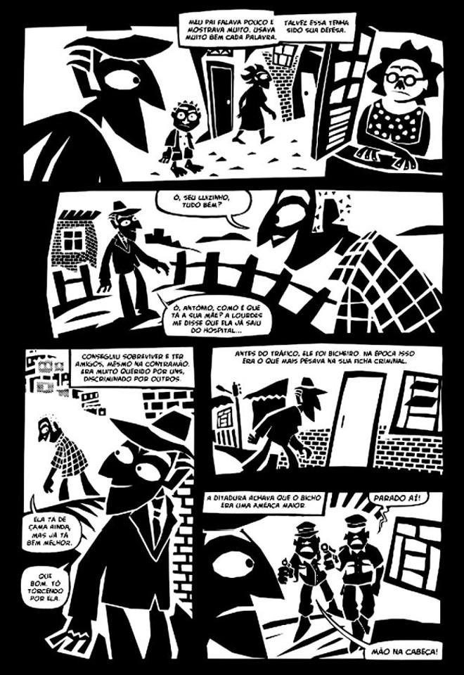 Reprodução de página de Morro da Favela, de André Diniz, que estará em cartaz em outubro |