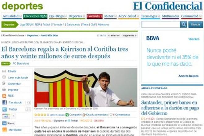 Jornal espanhol fala sobre acerto de Keirrison com o Coritiba |