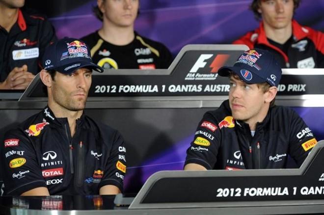 Webber e Vettel na entrevista coletiva dos pilotos nesta quinta-feira: dupla acredita que GP da Austrália não será parámetro para a temporada | EFE