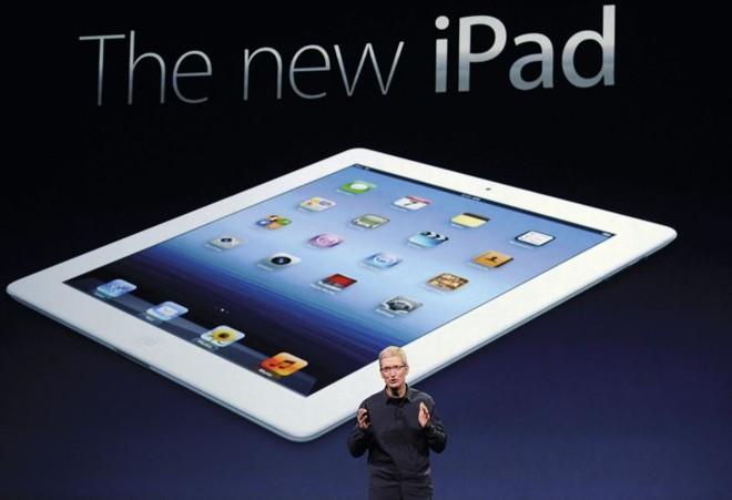 Tim Cook, presidente-executivo da Apple, durante o lançamento do novo iPad, que chegou ao Brasil sem estardalhaço e com quase três meses de atraso. | Kevork Djansezian/AFP