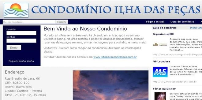 Site do condomínio Ilha das Peças: boa adesão dos moradores |