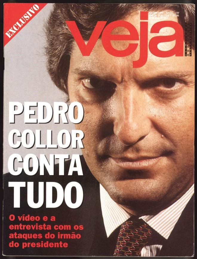 Capa da edição da revista Veja com a bombástica entrevista de Pedro Collor que marcou o começo do fim do ex-presidente |