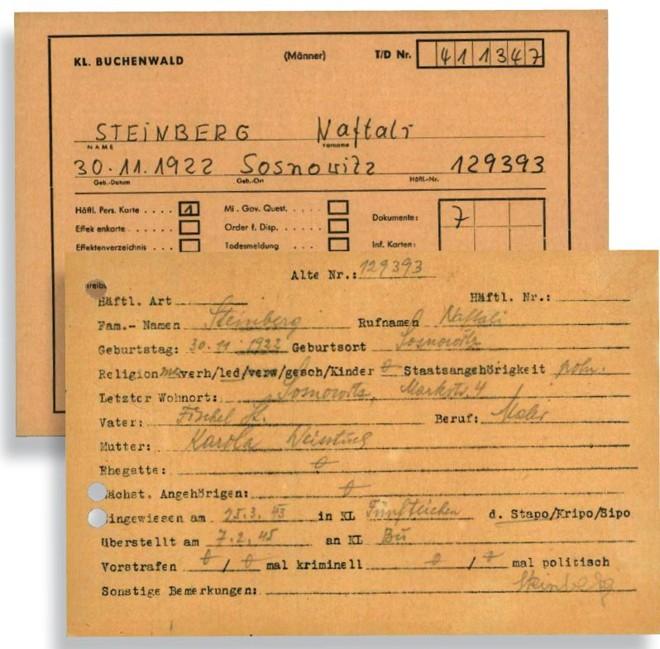 Ao chegar no campo, alemães faziam uma ficha do prisioneiro: documentos originais foram resgatados por Naftaly  