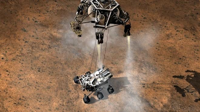 Ilustração da Nasa mostra como será a aterrissagem em Marte | Ilustração: Nasa