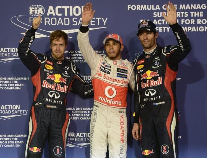 Hamilton, entre Vettel e Webber: trio larga na frente no GP de Abu Dhabi   AFP