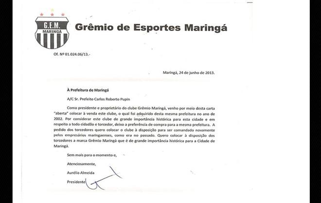 No final de 2011, Almeida havia informado que o time maringaense estava sendo negociado com um grupo de investidores | Reprodução / Site Oficial do Grêmio Maringá