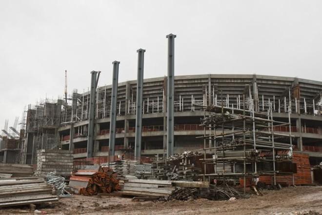 Foto tirada no dia 21 de junho da reforma na Arena da Baixada. CAP SA recebeu terceira parcela do financiamento do BNDES | Marcelo Andrade/ Gazeta do Povo