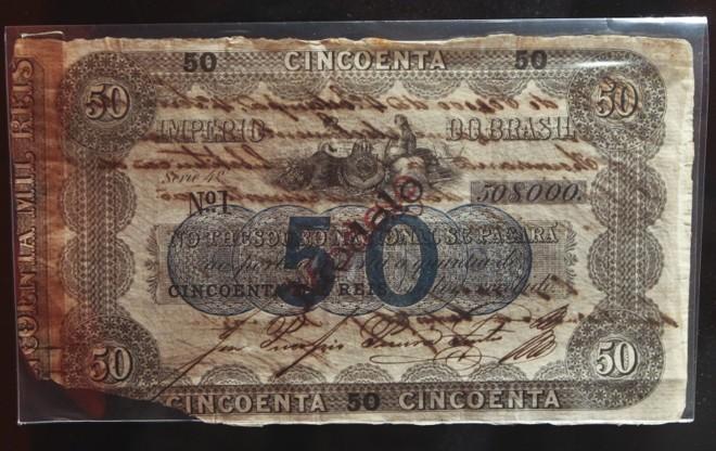 Na exposição do Museu Paranaense está a cédula número 1 de 50 mil réis, impressa durante o período imperial |