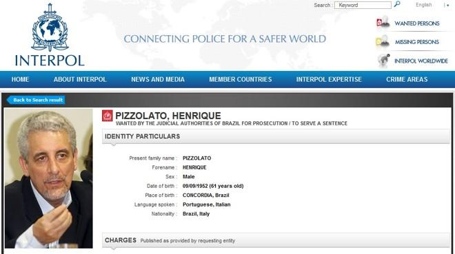 Imagem do site da Interpol | Reprodução