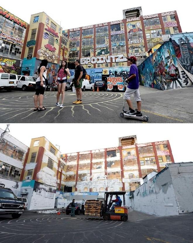 O edifício 5Pointz com os grafites, acima, e já pintado de branco | Justin Lane / EFE