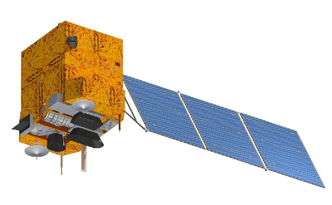 Desenho do CBERS-3, que será lançado no próximo dia 9: um pequeno passo para o Brasil   Divulgação/Inpe