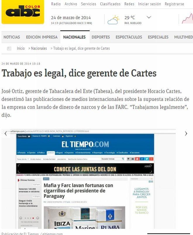 Jornal paraguaio repercute série da Gazeta do Povo e do jornal El Tiempo sobre o contrabando de cigarros | Reprodução/ABC COLOR