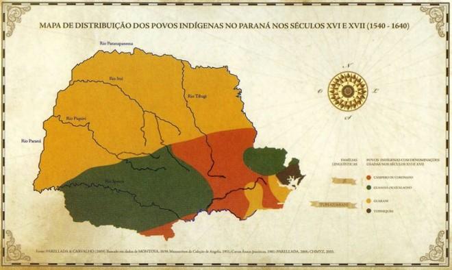 Mapa da distribuição dos povos indígenas no Paraná entre 1540 e 1640, elaborado por Cláudia Parellada e José Luiz de Carvalho |