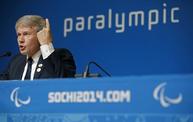 O dirigente paralímpico da Ucrânia, Valeriy Sushkevich, durante coletiva de imprensa em Sochi. | Reuters-Christian Hartmann