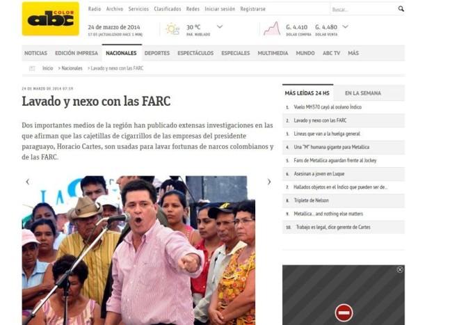 O jornal paraguaio ABC Color repercutiu matéria da Gazeta | Reprodução